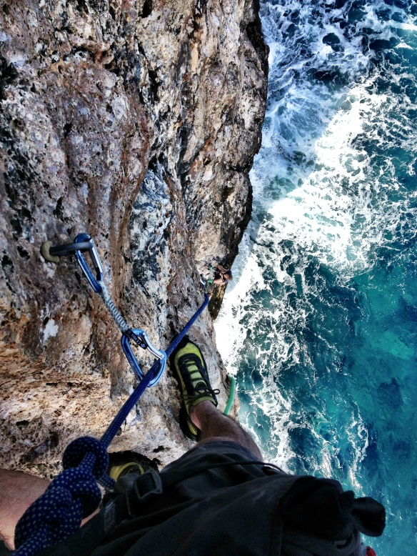 Climbing at the point cayman brac